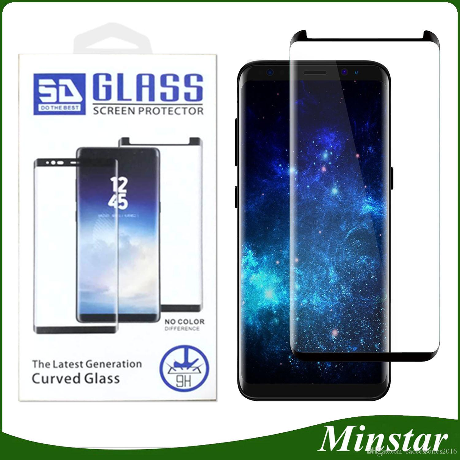fe3799c03b 3D Edges Screen Full Cover Cases Friendly Tempered Glass For Samsung Galaxy  S10 Plus S10e Note 9 8 S8 S9 S7 Edge S6 +Luxury Plastic Package