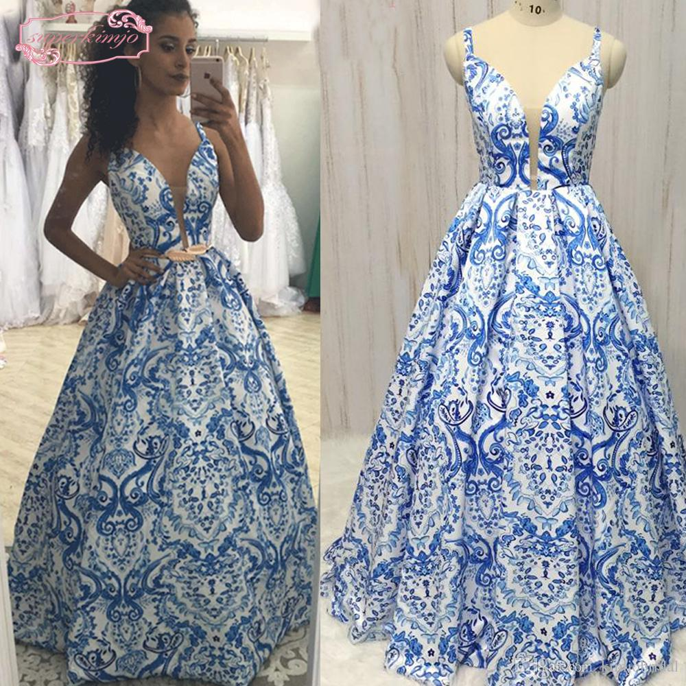 2018 Print Prom Dresses Sweetheart Neckline Ball Gown Backless Satin ...