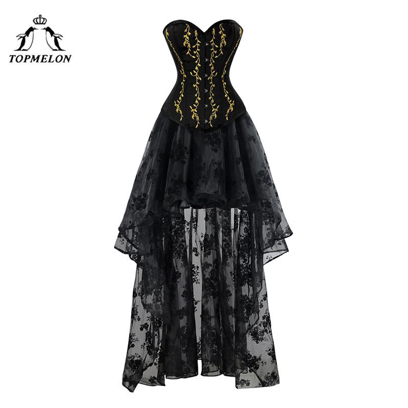 f0519e17db 2019 TOPMELON Corset Dress Steampunk Bustier Gothic Women Embroidery Lace  Tulle Dress Floral Silky Party Wedding Maxi Ball Gown From Vikey08