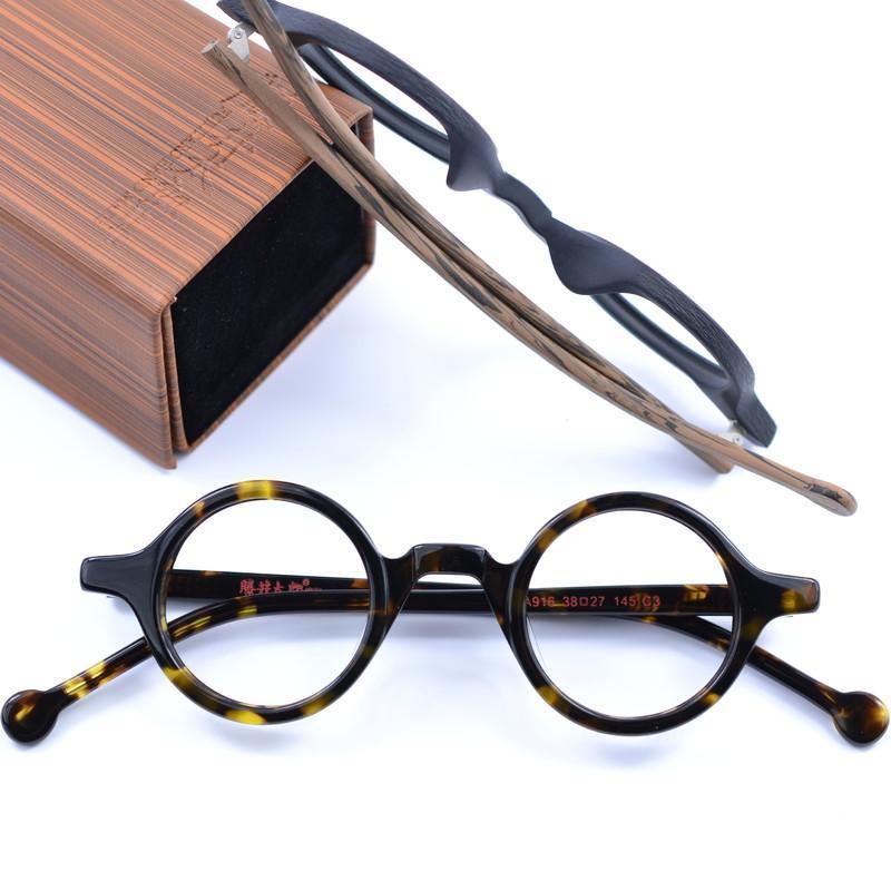 298e462f55 2018 New Round Men Women Eyeglasses Frames Vintage Wood Myopia ...