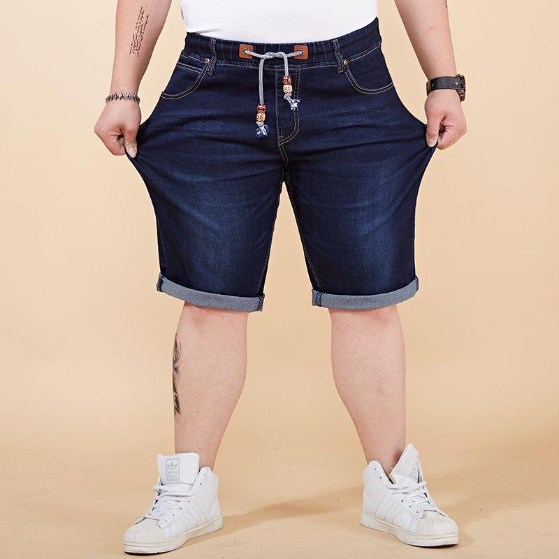 8bd59cd39704 2019 Men Denim Shorts Male Jeans Summer Men Jean Shorts Elastic Waist Knee  Length Mens Jogger Ripped Large Big Size 28 40 42 44 46 48 From Xiamen2013,  ...