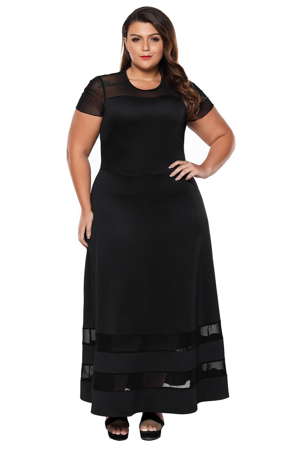 98217ae71b77b New Summer Plus Size Maxi Dress Short Sleeve Black Sexy Long Office Ladies  Dress O Neck Hollow Out Party Dress 4xl Lc61961 Long Dress For Women Womens  Short ...