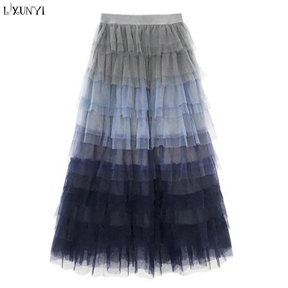 7fcdb38ab132d Neuer Maxi Tüll-Rock-Frauen-lange Röcke Frauen plus Größen-elastische  Taillen-Rüsche-Frauenrock-Tulle erwachsene EleStarry-Himmelröcke