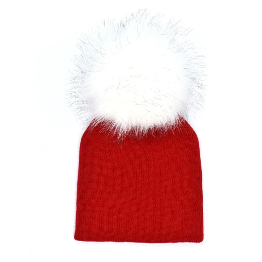 e4fb27822a9 Acheter 2017 Unisexe Pom Poms Enfant En Bas Âge Bébé Hiver Chaud Solide  Chapeau Crochet Tricot Hairball Beanie Cap Drop Shipping   5 6 De  24.28 Du  ...