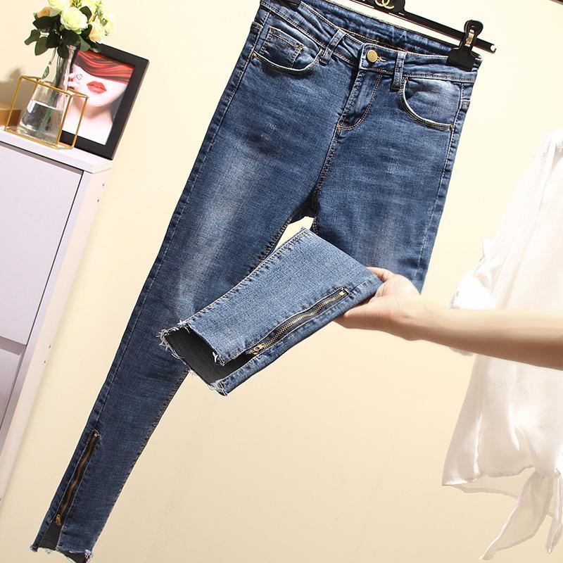 cd20684a8 2018 Primavera Verano Mujeres de cintura alta Jeans Vintage Casual Stretch  Mujer Pantalones de mezclilla Skinny 3XL 4XL Plus Size Pencil Jeans 228