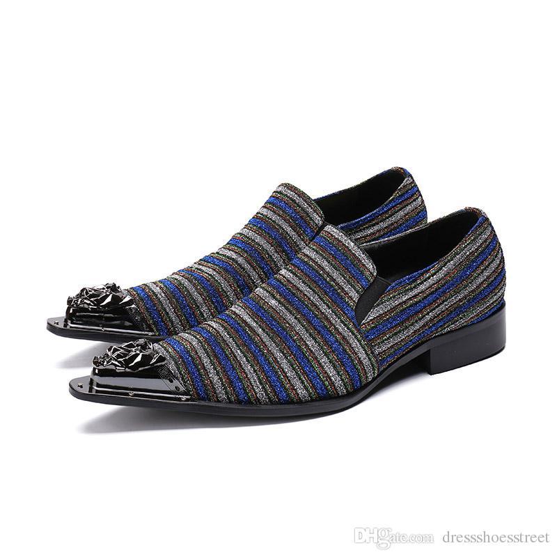2dd236720 Compre Luxo Estilo Italiano Sapatos Masculinos Preto   Azul Sapatos De  Couro Vestido De Negócios Bonito Apontou Toe De Negócios E Sapatos De Festa  Homens De ...