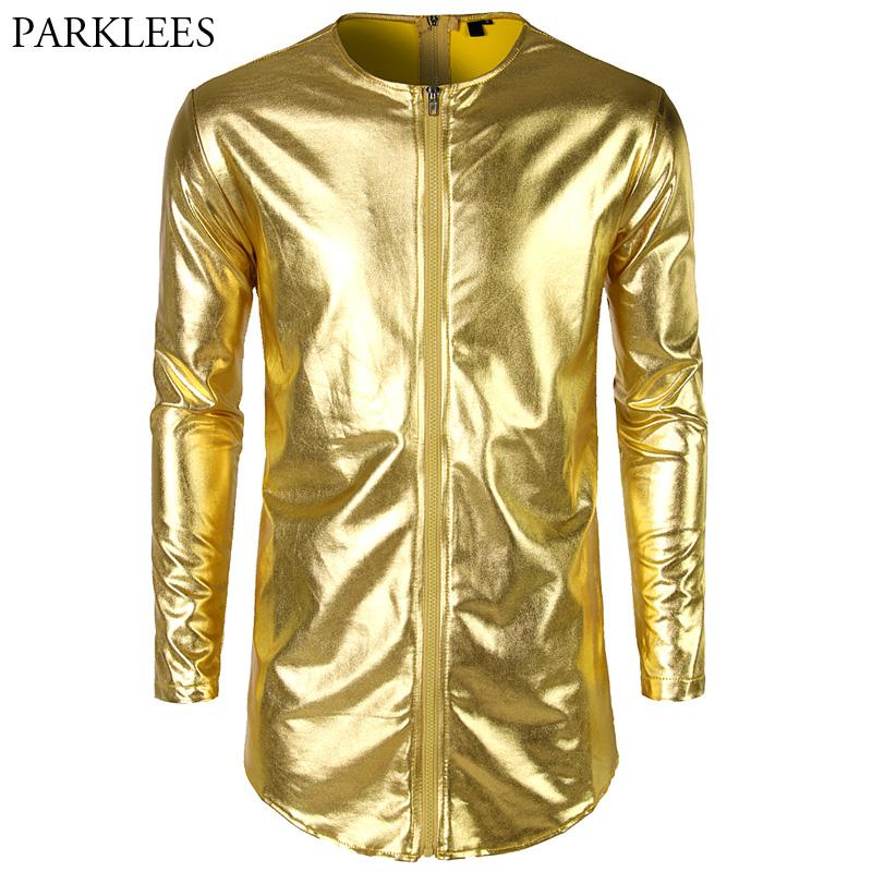 458f06277e9ac4 Double Zipper T Shirt Men 2018 Shiny Gold Metallic Longline T Shirt Mens  Slim Fit Long Sleeve T Shirts Nightclub Prom Tops Tees Designer Mens T Shirt  Really ...