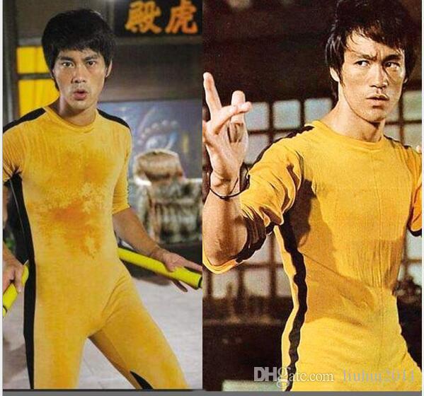 1e29b32856112 Acheter Haute Qualité Authentique Bruce Lee Jumpsuit Jaune Survêtement  Kungfu Formation Vêtements Classique Nunchukus Jeet Kune Faire Uniforme De   20.3 Du ...