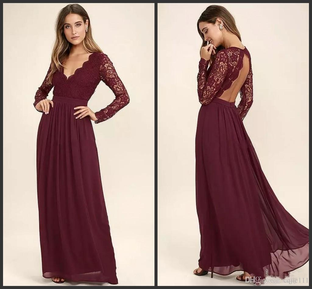 2018 Burgundy Chiffon Bridesmaid Dresses Long Sleeves Western Country Style  V Neck Backless Long Beach Lace Top Wedding Party Dresses Cheap Canada 2019  From ... 6cdb70c8aab0