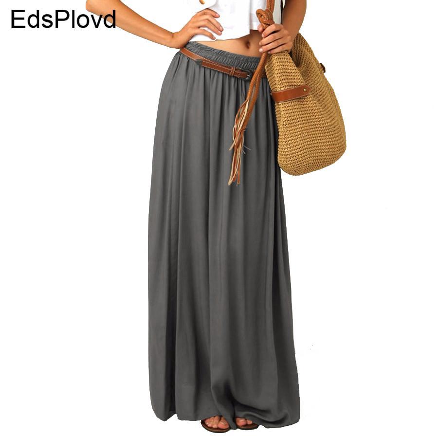 ebe075632 EdspLovd Falda larga plisada vintage Falda larga elegante de la gasa de la  perla de las mujeres capas largas 2018 Falda verano gris AS19 S916