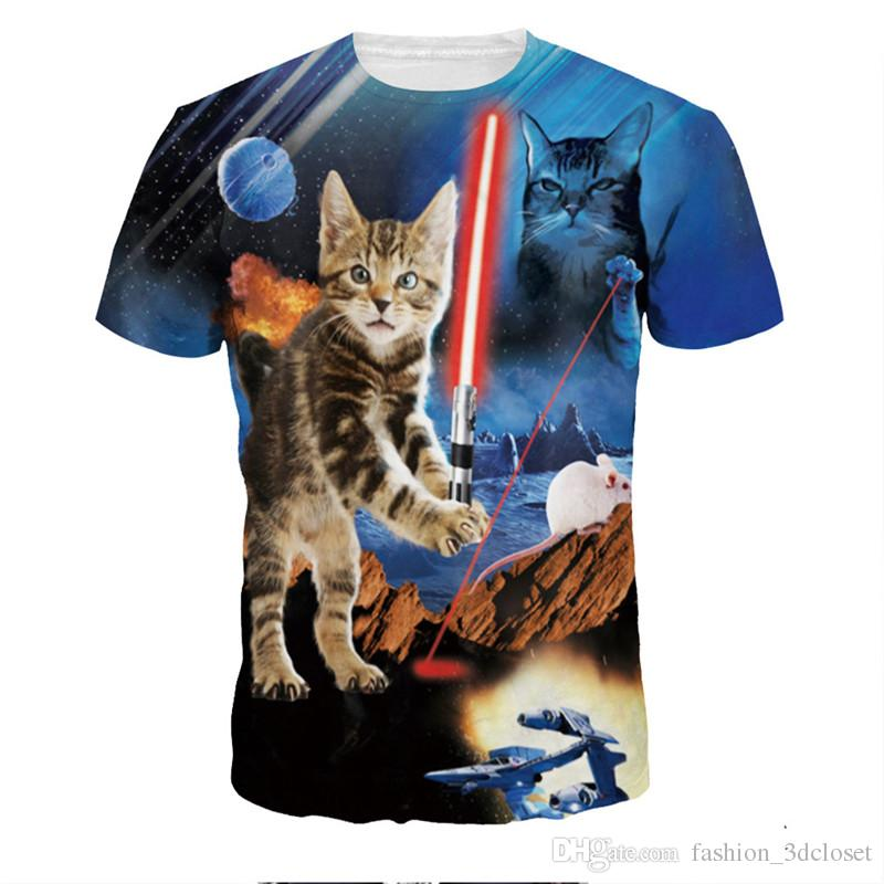 5a2bd7b19 War Fighting Cat T Shirt 3D Men Funny Cats Printed T Shirts New Arrival  2018 Hot Streetwear T Shirts Plus Size Harajuku Tops Tshirts Designs T Shirt  S From ...