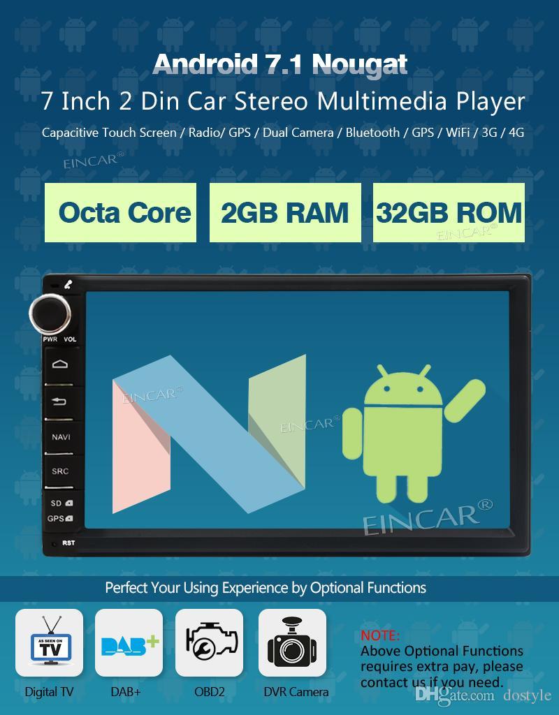 옥타 코어 안드로이드 7.1 차량용 스테레오 대시 라디오 FM / AM RDS DAB + 블루투스 디지털 터치 스크린 WiFi GPS NAVI 2GB RAM + 32GB ROM