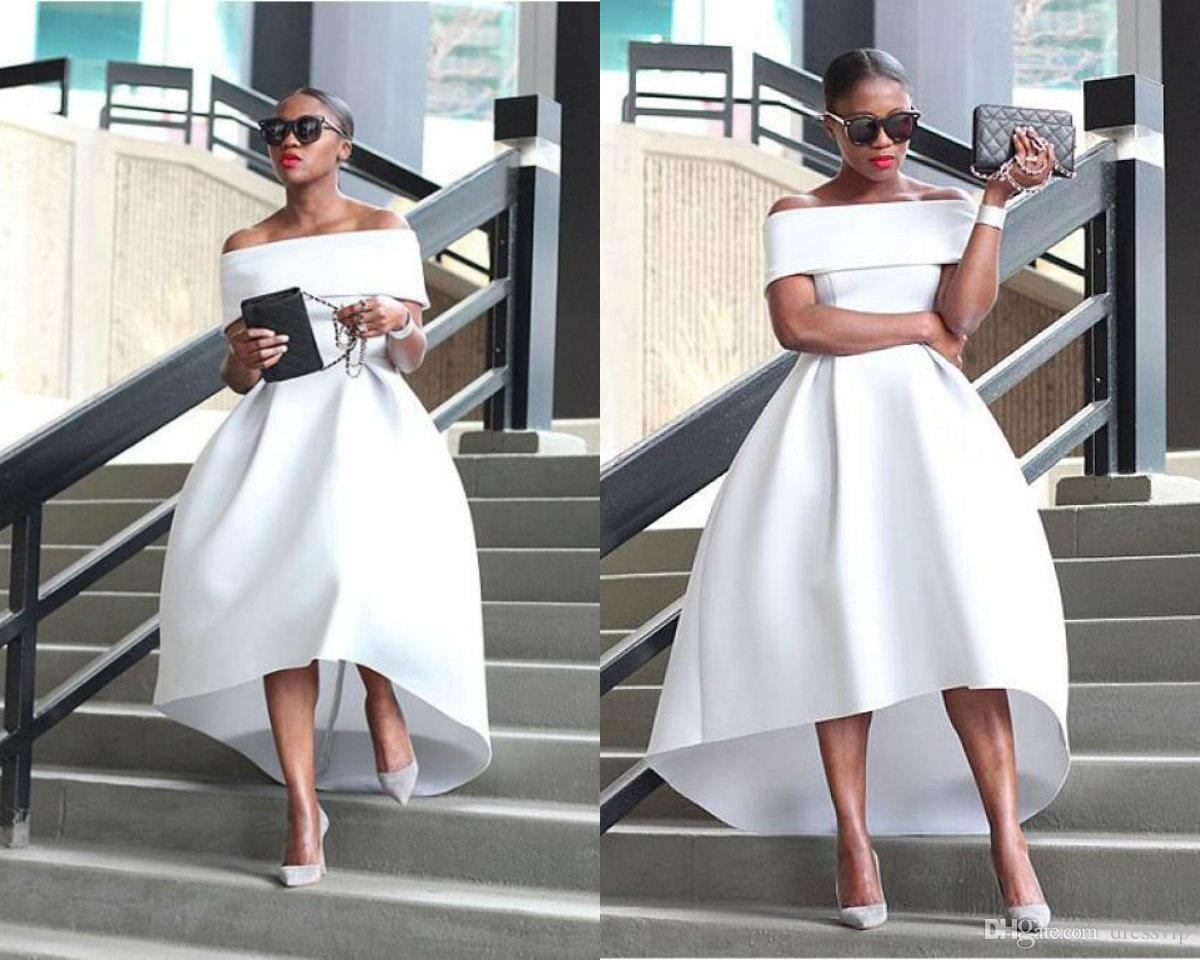 2018 White Prom Dress High Low Off The Shoulder Satin Cheap Evening Gowns  Plus Size African Formal Dress Party Wear