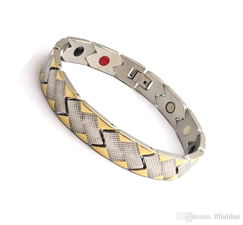 Fashion 316l stainless steel IP gold plating 4 in 1 elements bracelet  magnetic healthy care bracelet