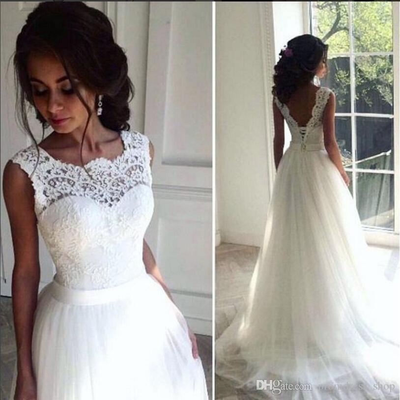 New Fast and Lace Cheap 2019 Beach Wedding Dresses Crew A-line Tulle Bridal Dresses Vintage Long Wedding Gowns