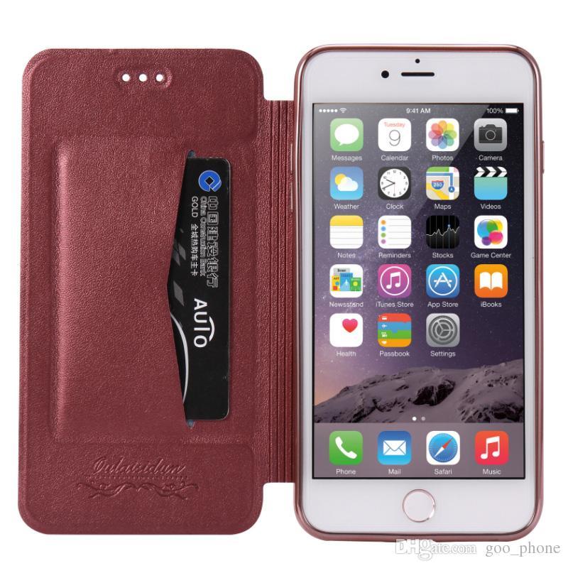 Funda de tarjeta de lujo de la ranura para teléfono Funda de carcasa de teléfono móvil Funda de cuero de la PU con tapa para iPhone X 8 Plus Samsung S9 S8 Plus