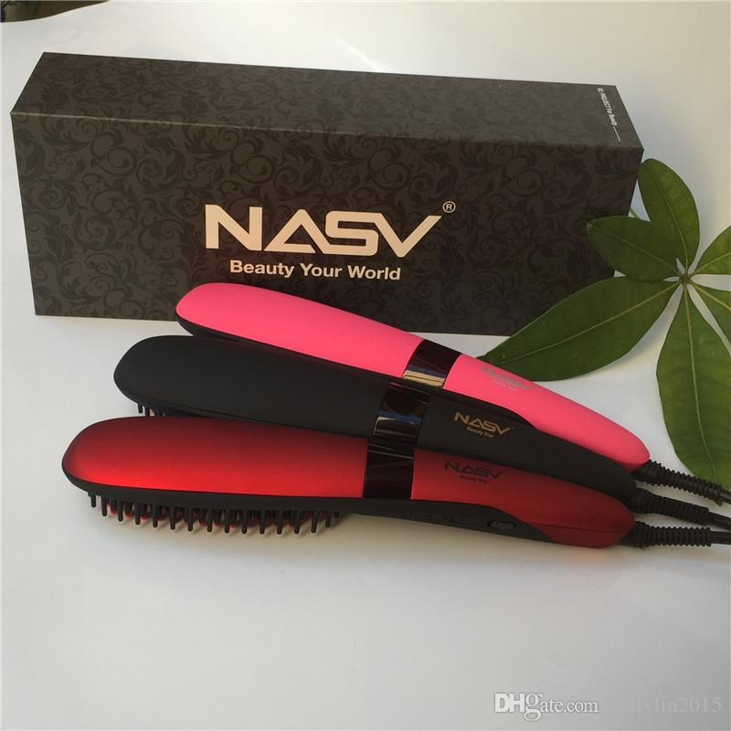 NASV 300 Hair Straightener 75W Beautiful Start Straightening Brush Comb Styling Tools Tourmaline Ceramic Flat Iron Hair Straighteners