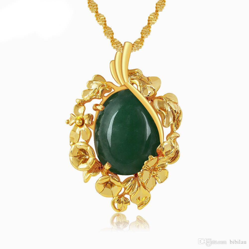 Wholesale 204P Classic Green   Red Stone Pendants Necklace For Women  Fashion Jewelry 24k Pure Gold Plated 45 Cm Wave Chain Necklaces For Men  White Gold ... f7616ff2a