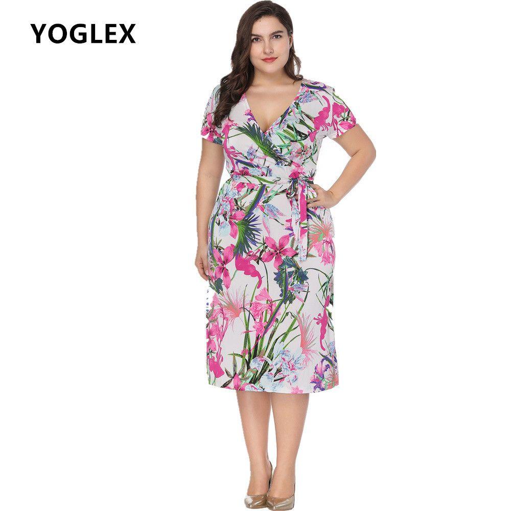 292da09415c 2019 XL 5xl 6xl Plus Size Summer Dress Women Short Sleeve V Neck Print  Bohemian Sexy Casual Beach Dresses Vestidos From Ppkk