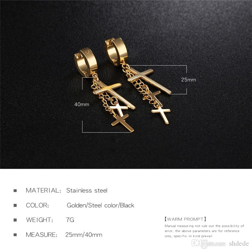 316l Croix en acier inoxydable Boucles d'oreilles pour les hommes unisexe Punk Vintage Fashion Bijoux Accessoires OE423