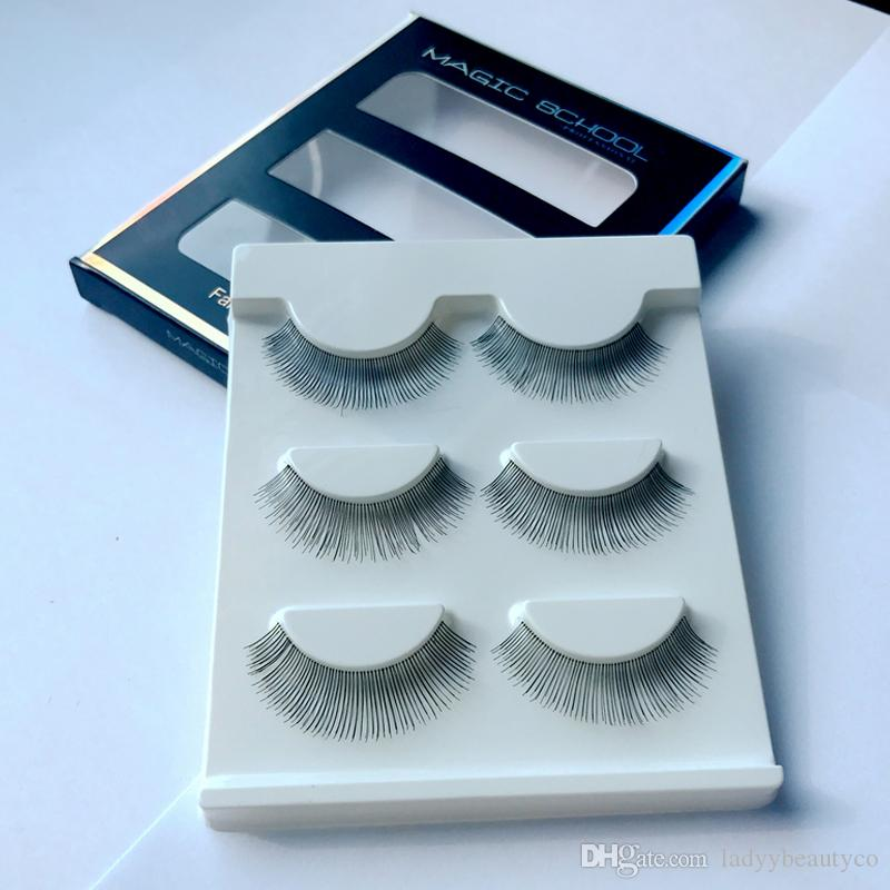 012-Human Hair Thick Long False Eyelash Brand Fashion Lash Makeup Handmade Soft Human Hair Black Long Cross Thick Curl False Eyelashes