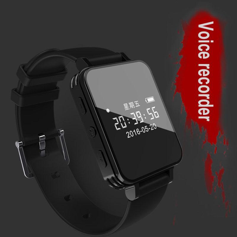 9e91e66c9a86 Grabador de voz digital Reloj Grabadora de audio Dictafono Deporte Pulsera  de pulsera portátil Podómetro Impermeable 8G Grabación Mini MP3