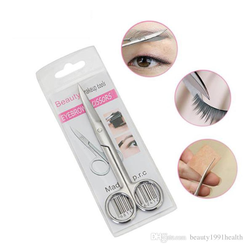 New Large Elbow Head Scissors Stainless Steel Eyebrows Cut Scissors Nose Hair Scissors Tailoring Shears Trimmers Tools