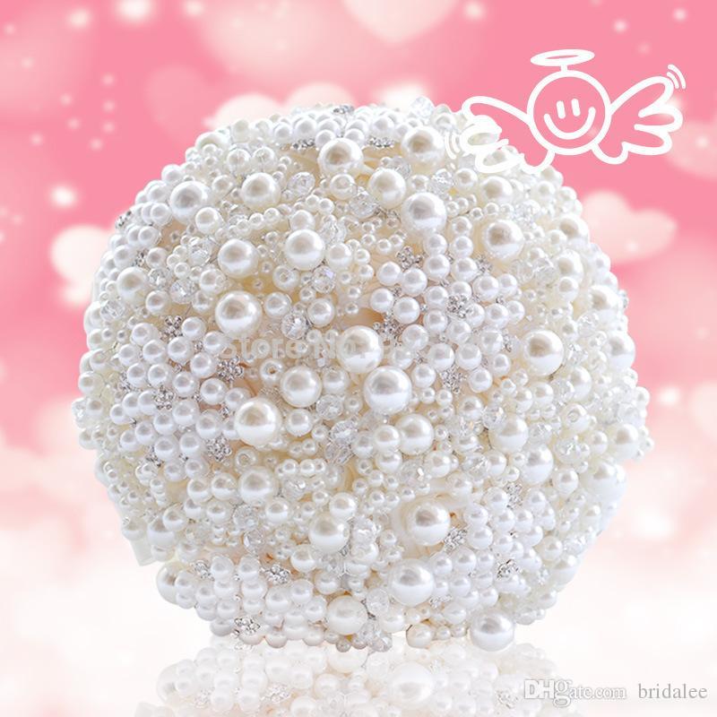 2018 mais novo pérolas bouquet artificial buquê de marfim broche de cristal artesanal novo casamento flores buquês de noiva