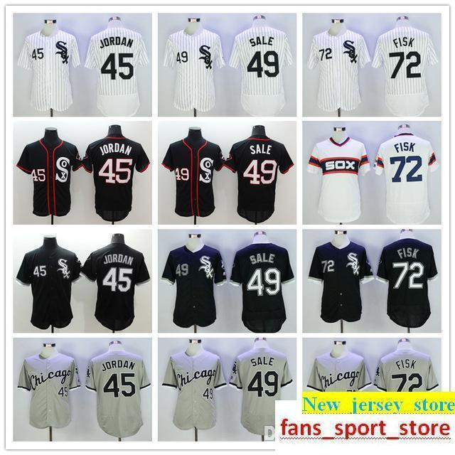 2019 Men's White Sox 45 Michael 72 Carlton Fisk 49 Chris Sale White Black Gray Cool base Flexbase Baseball Jersey cheap wholesale