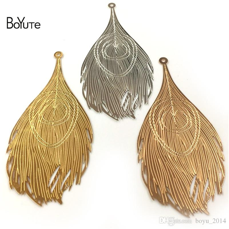 BoYuTe 83*38MM Big Peacock Feathers Metal Sheet Silver Gold Diy Pendant Charms for Jewelry Making