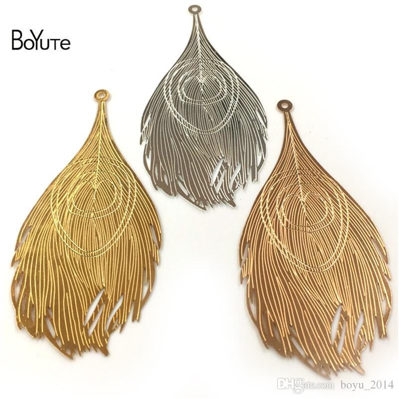BoYuTe 83 * 38MM Plumas grandes del pavo real Hoja de metal Oro de plata Diy colgante de los encantos para la fabricación de la joyería