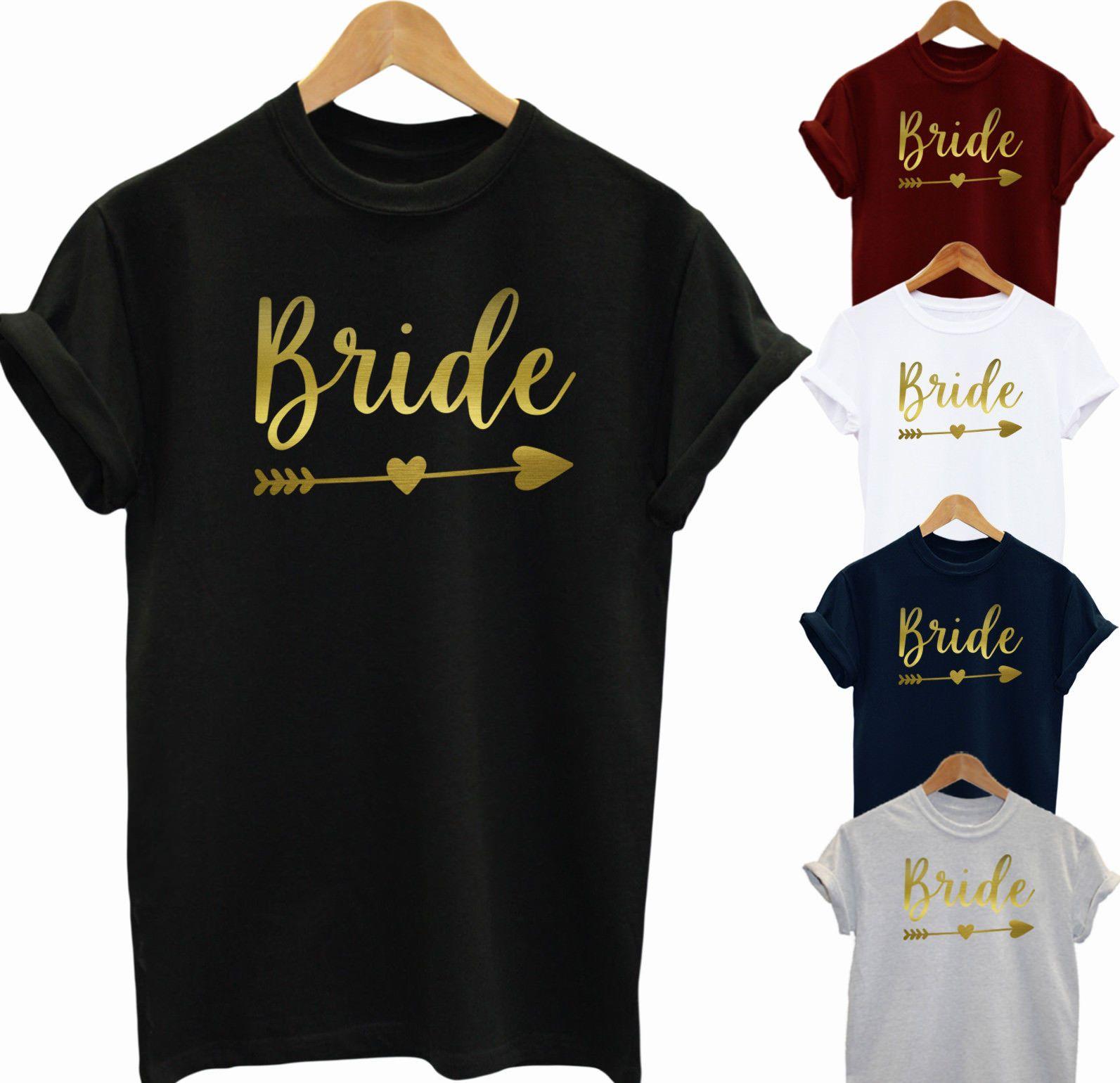 Bride T Shirt Hen Party Bride Gold Print Bridesmaid To Be Unisex