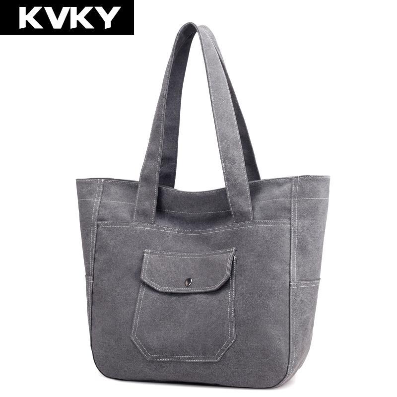 KVKY Canvas Bag Women Handbags Canvas Ladies Shoulder Bag Fashion ... 14398ce32f239