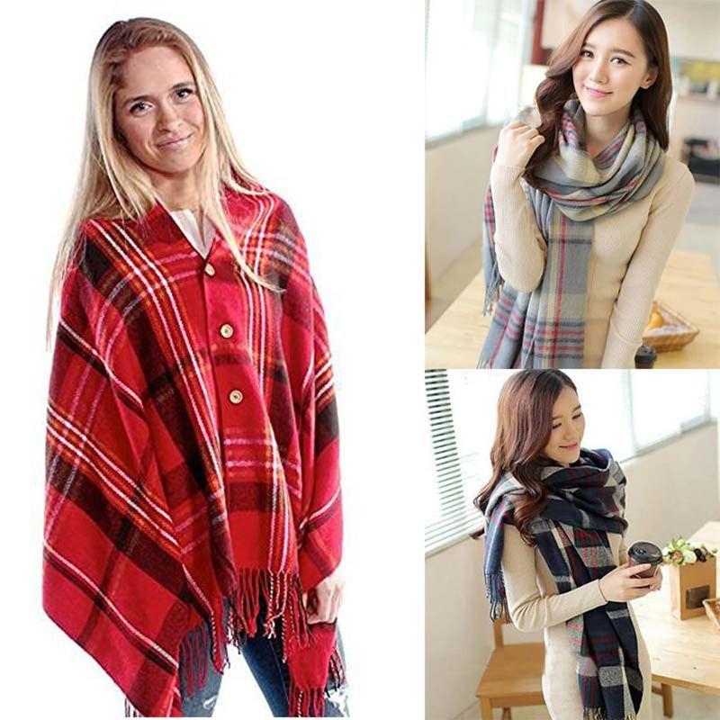 New Fashion Top Quality Front Tassel Trim Warm Shawl Women Plaid Button Scarf Fine Cape Wrap Pashmina Winter Autumn Poncho