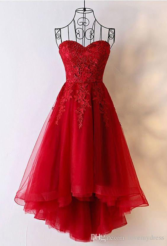 be0a863c465 Red Lace High Low Party Dresses 2019 Strapless Backless Tulle Short Prom  Dresses Women Evening Gowns Special Occasion Dress Plus Size Beach Dresses  ...