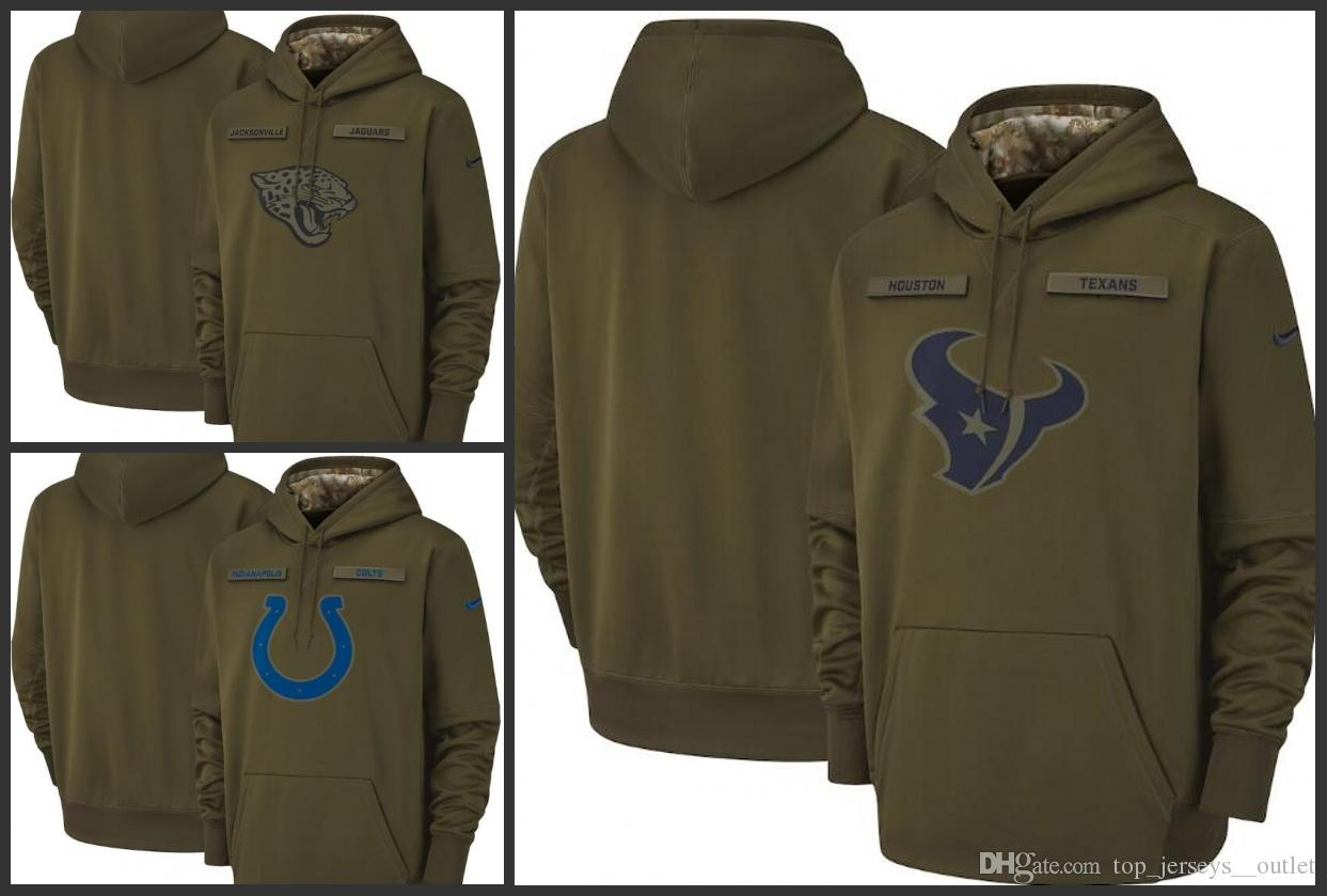 sale retailer ec4f1 d8f3d Men Women Jacksonville Jaguars Indianapolis Colts Houston Texans Salute to  Service Sideline Therma Performance Pullover Hoodie