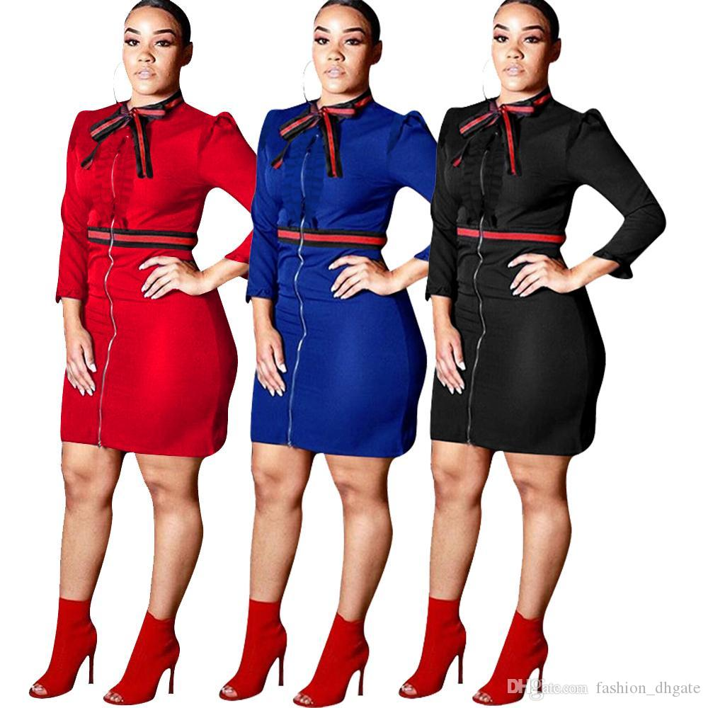 Black Red Blue Women Office Dress Sexy Long Sleeve Ribbons Patchwork