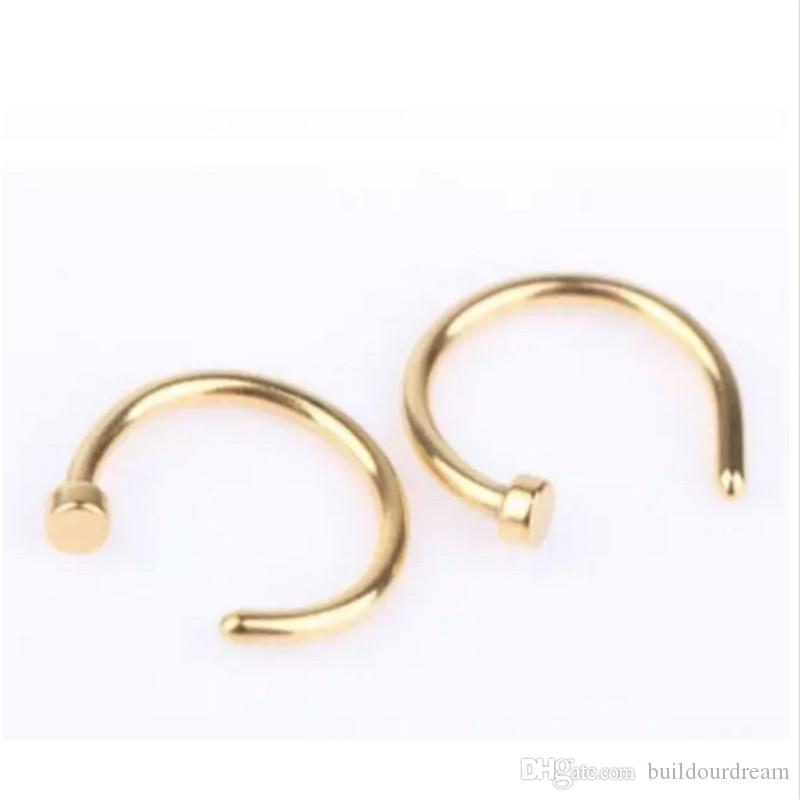 High Quality Nose Rings Body Art Piercing Jewelry Fashion Jewelry Stainless Steel Nose Open Hoop Earring Studs Fake Nose Ring aa272-279