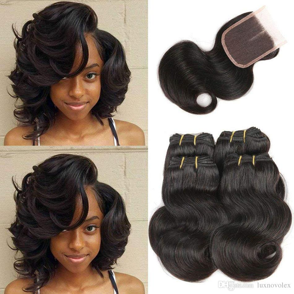 8a brazilian body wave 4 bundles with lace closure cheap brazilian human  hair weave bundles with closure short hair extensions natural color