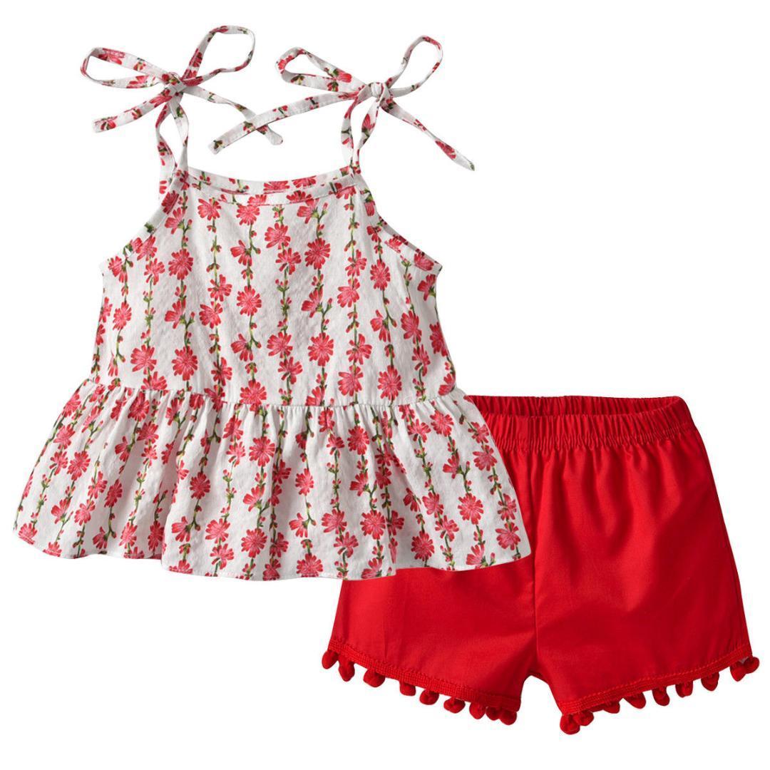 76ae6271c0e8b Acheter Été Enfant Bébé Fille Fleurs Sans Manches T Shirt Rayé Rouge Top +  Pantalon Shorts Tenue Casual Coton Vêtements Sunsuit 1 7Y De  36.83 Du  Entent ...