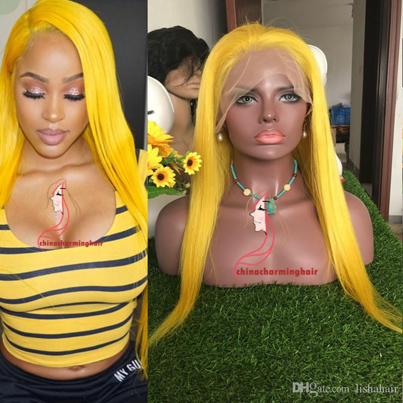Yellow colored human hair full lace wig and