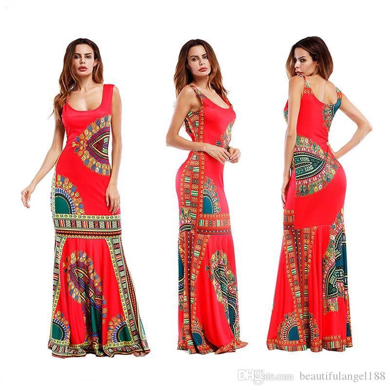 Las mujeres del verano se visten con cuello en U Vestido sin mangas impreso Fiesta de playa delgada Falda Casual Blanco rojo verde negro azul de la longitud del piso
