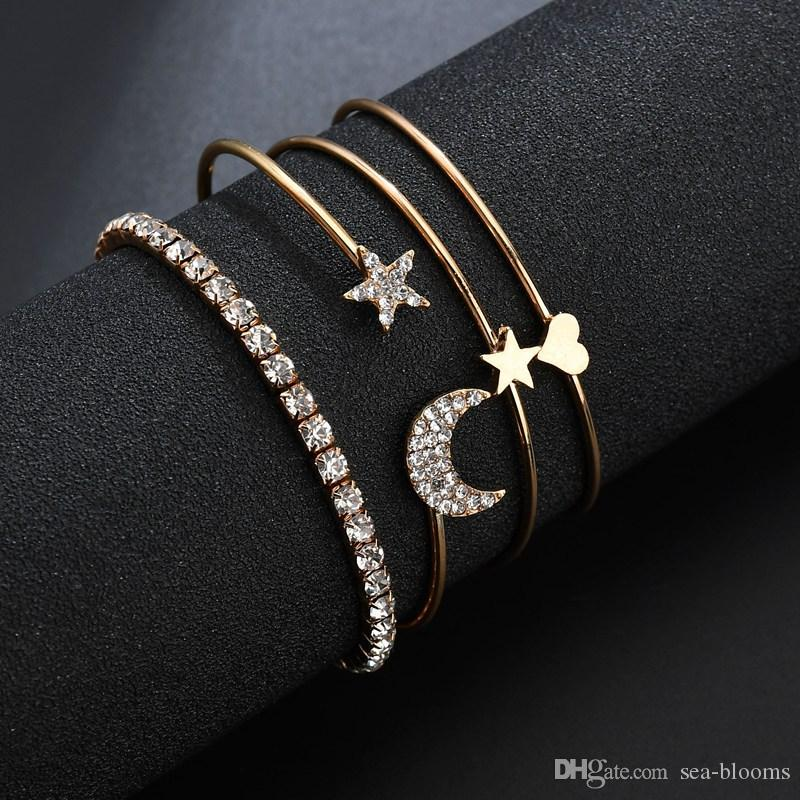 Fashion Jewelry Gold Plated Love Moon Stars Diamond Bracelet Female Open Bangle Accessories Valentine's Gifts Support FBA Drop Shipping H78F