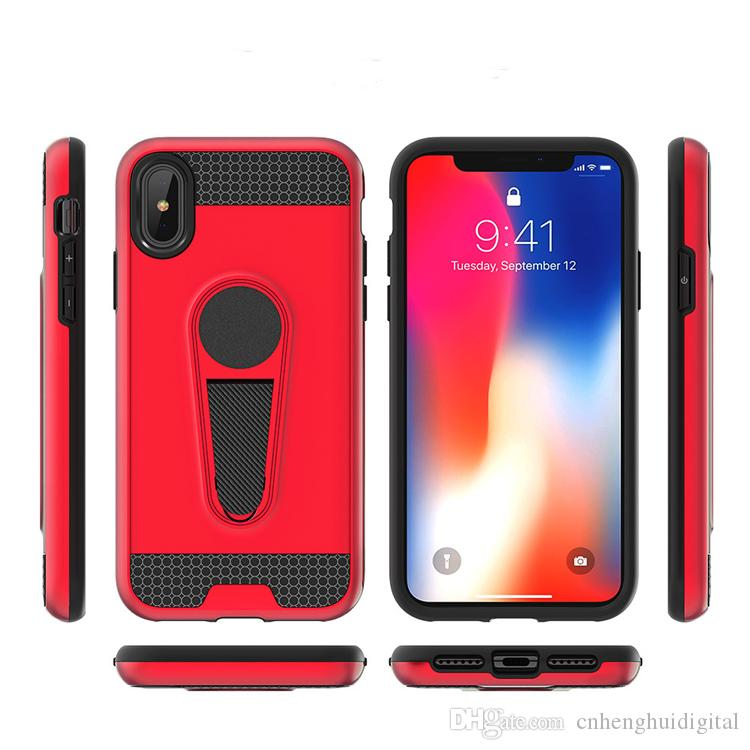 For iPhone X 8 Plus 7 Plus 6S Plus 6 Wholesale Cheap Hybrid Magnetic Car Mount Kickstand Cell Phone Case Stand Cover