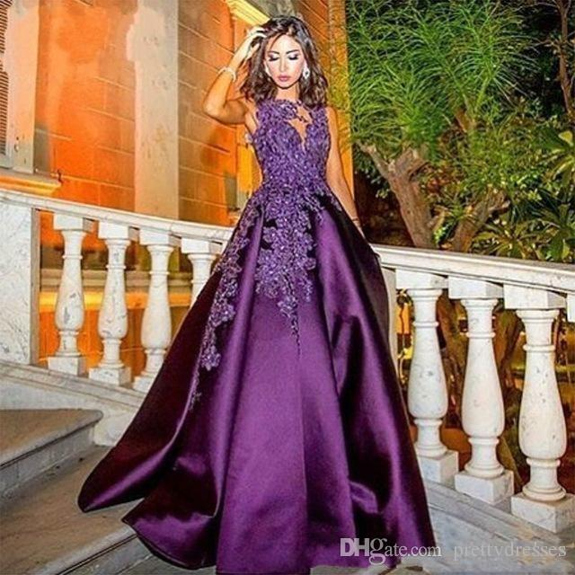 Sheer Lace Appliques Purple Long Evening Dresses Arabic Dubai A Line Custom Made Formal Prom Party Gowns Special Occasion Party Gowns 2018