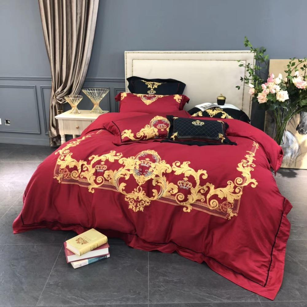 Chinese Traditional Wedding Bed Set 4 Red Bedding Sets With Luxury