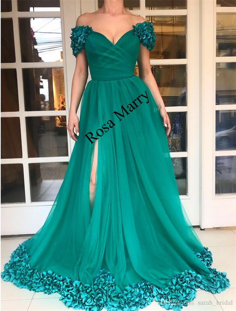2018 Plus Size Long Cheap Prom Dresses A Line Off Shoulder 3d ...