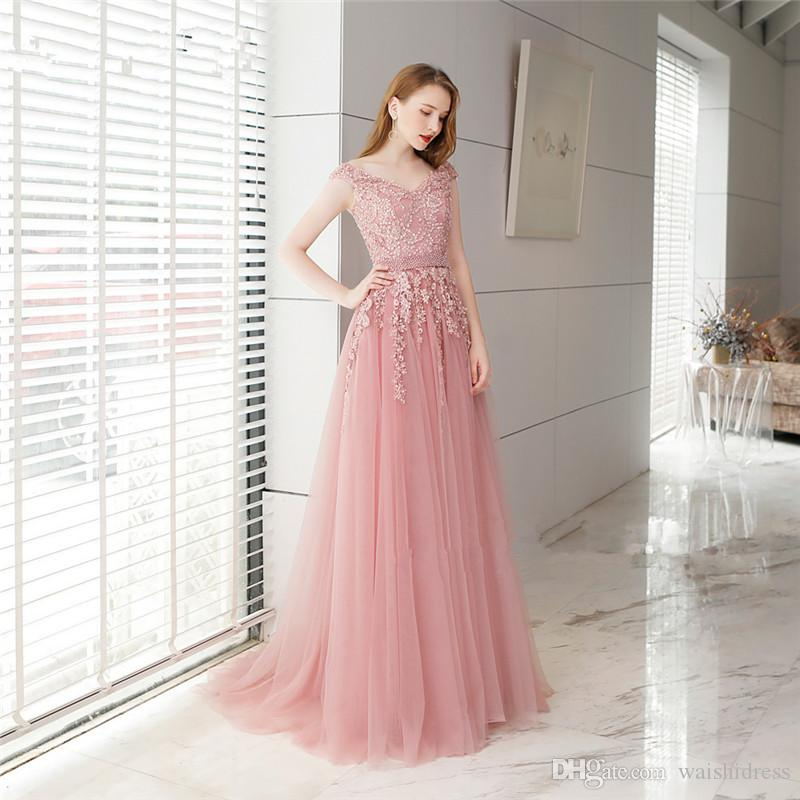 de34ca7e9c6 2018 Elegant Pink Tulle Long Prom Dresses V Neck Off Shoulder Evening Gowns  Custom Beads Belt Evening Dresses Vestidos Formales De Noche Cheap Beautiful  ...