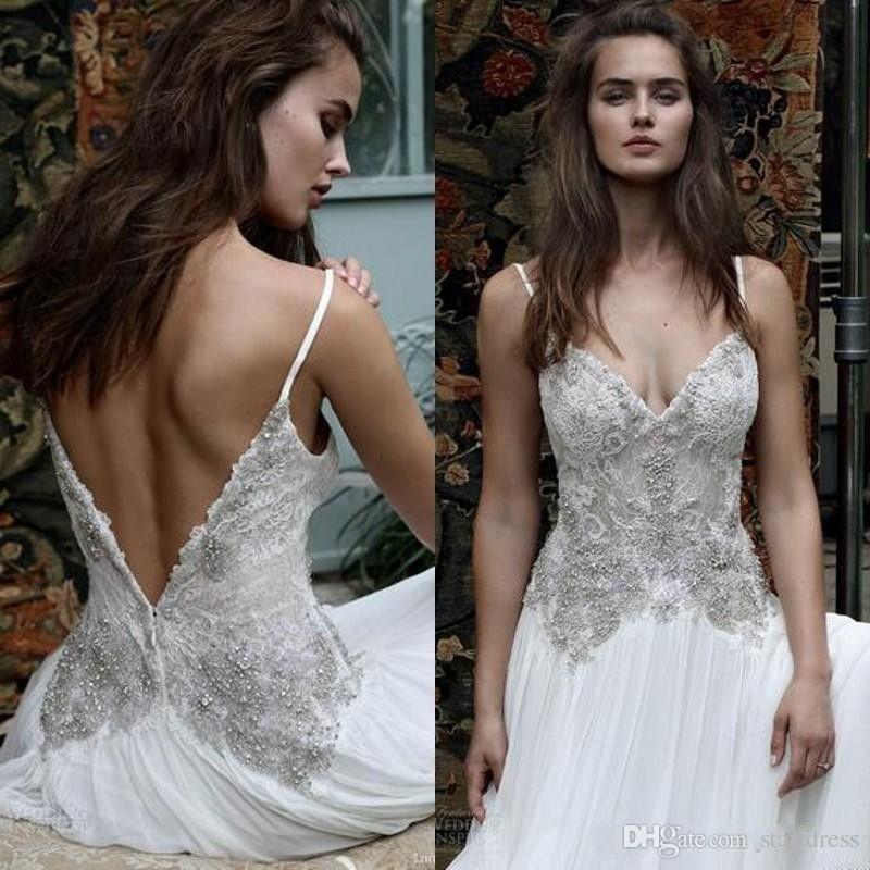 Modest Designer Bohemian White Country Chiffon Beach Wedding Dresses Spaghetti Straps Top Lace Beaded Bridal Gowns Backless Cheap Summer