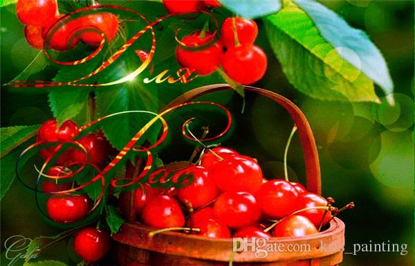 Diamante ricamo frutta Cherry fai da te diamante pittura a punto croce kit resina piena piazza diamante mosaico decorazione della casa zxh0629